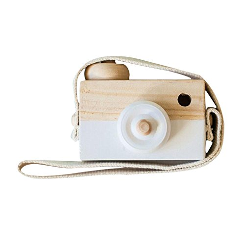 Allywit Baby Kids Cute Wood Camera Toys Children Fashion Clothing Accessory Safe And Natural Toys Birthday Christmas Gift (White)