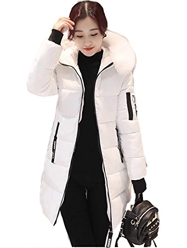 Fill Coat Jacket (Winter Thickened Long Down Jackets Women Warm Plus Size Coat Maxi Outerwear Medium White)