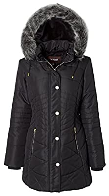 Sportoli Women's Longer Length Plush Lined Puffer Coat and Zip-Off Detacheable Fur Trim Hood