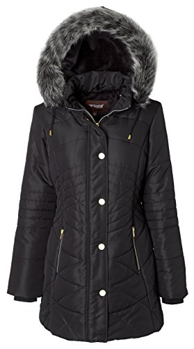 Sportoli Women's Longer Length Plush Lined Puffer Coat and Zip-off Detacheable Fur Trim Hood - Black (2X) by Sportoli