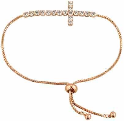 50144d54def Infinite Memories Women High Cross Cubic Zirconia Adjustable Tennis Bracelet  for Women Rose Gold Silver