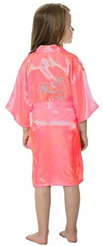 Girls Personalized Nightgown (JOYTTON Girl's Satin Kimono Robe With Embroidered Flower Girl(4,Watermelon Red))