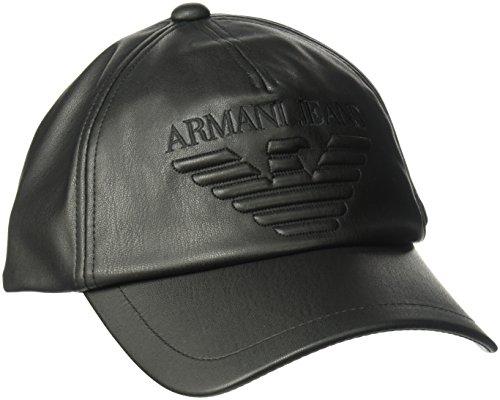 Armani Jeans Men's Nappa Leather Look Soft Logo Baseball Cap, black, ONE - Exchange Hat Armani Black