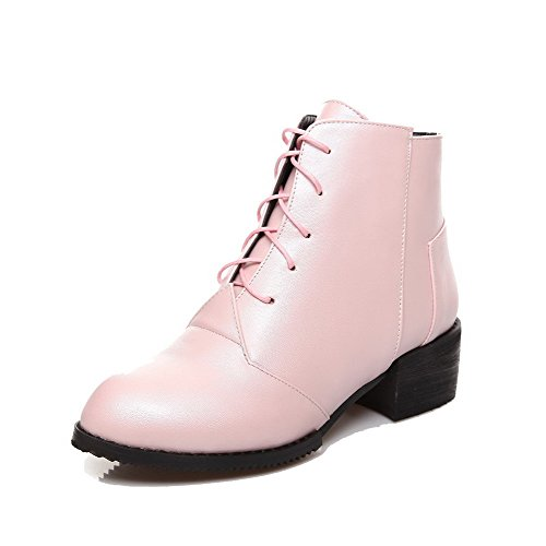 AgooLar Women's Round Closed Toe Low-Top Kitten-Heels Solid PU Boots with Knot Pink E22ig