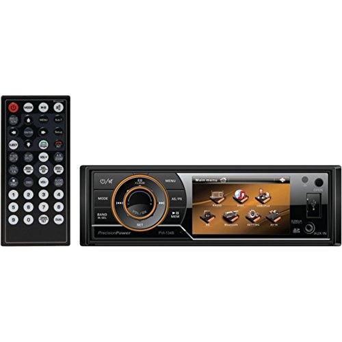 PRECISION POWER PVI.134B 3.4 Single-DIN In-Dash Mechless Receiver with Detachable Face & Bluetooth(R) Car Accessories