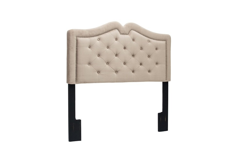 Three Height Adjustable Upholstered Button Tufted Queen-Full Solid Wood Headboard Taupe with Nails