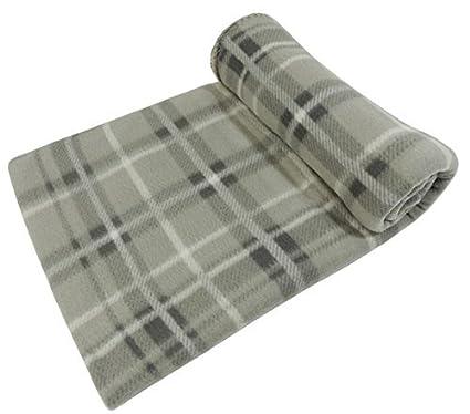 Unicolour Tartan Checked Design Soft Fleece Throw Picnic Blanket 120x150cm Beige