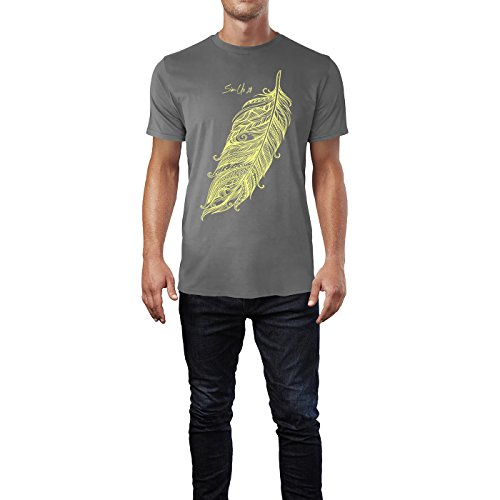 SINUS ART ® Feder mit verspielten Tattoos von hinten Herren T-Shirts in Grau Charocoal Fun Shirt mit tollen Aufdruck