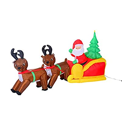 HOMCOM 7' Long Outdoor Lighted Airblown Inflatable Christmas Lawn Decoration - Santas Sleigh