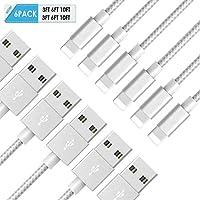 6 Pack JR TECHNIK ( 3Ft 6Ft 10Ft ) x 2 MFi Certified Nylon Braided Cables