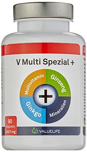 V Multi Spezial: 90 Multivitamin + Multimineral Kapseln - 22 Vitamine & Mineralien mit Extra Ginkgo Biloba & Ginseng in optimaler Bioverfügbarkeit für Körper und Geist - Qualität Made in Germany (1x74g)