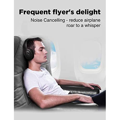 COWIN SE7 Active Noise Cancelling Headphones Bluetooth Headphones Wireless Headphones Over Ear with Mic/Aptx, Comfortable Protein Earpads 50H Playtime, Foldable Headphones for Travel/Work - Black