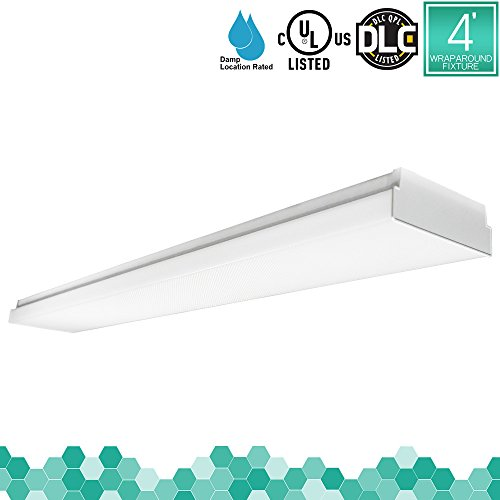Luxrite 48W 4FT LED Wraparound Light Fixture, 4000K Cool White, 5040 Lumens, Damp Rated, 110-277V, Frost Cover, CRI80+, UL Listed, DLC Listed (Eligible for Rebate Programs), 1-Pack