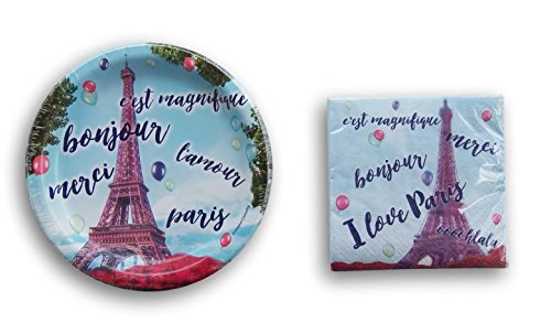 Paris Themed Party Supply Kit - Beverage Napkins and Dessert Plates - Paris Dessert Plate