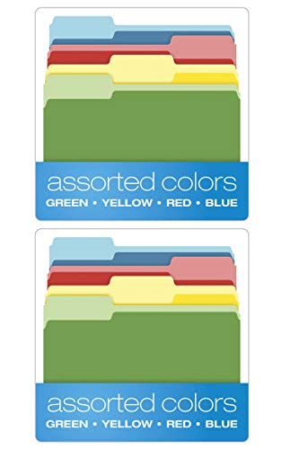 Pendaflex IUYEHDUH Two-Tone Color File Folders, Letter Size, Assorted Colors (Bright Green, Yellow, Red, Blue), 1/3-Cut Tabs, Assorted, 36 Pack (03086) 2 Pack by Pendaflex