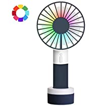 Mini Handheld Fan with Color Light, ICODE Sports Portable Personal Rechargeable USB Fan Desk Table Fan with Standing Base, 3 Speed, Ideal for Outdoor Trip Camping Disney