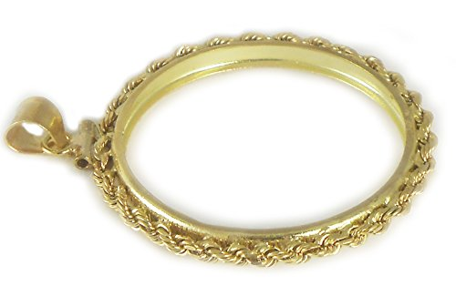 - Flintski Jewelry Gold Filled 13mm Rope Coin Bezel Frame Mount 13.08mm x 1.02mm