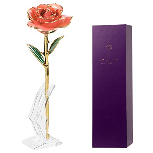 TOQI Gold Plated Rose, 24K Gold Dipped Rose Flowers, Forever Gifts for Her Valentine's Day Anniversary Wedding - Pink with Exquisite Stand & Gift Box