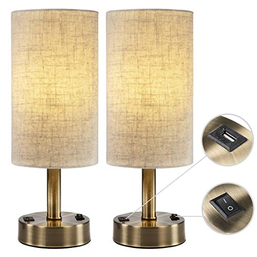 (DEEPLITE USB Table Lamp for Living Room, Bedroom, Bedside Nightstand Lamp with 2A Charging Port, Bronze Metal Base (Set of)