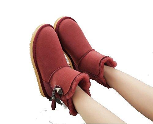 Damen Warme Winter Gepolstert Mini Schaffell Stiefel(Eine Größe Zu Klein), 4, 38