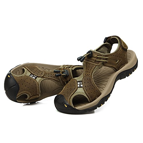 with Velcro Toe Kahki Leather Sandals Summer Strap GOMNEAR Slipper Shoes Closed Sandal Men Beach Fashion 7qAZ1Cx