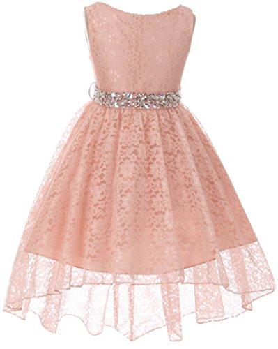 Big Girl Flower Girl Dress Hi-Low Style Lace Allover Blush 12 (Girls Hi Low Dress)