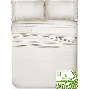 Bamboo Sheets King Size Sheets - 100% Organic Bamboo King Sheets Cooling Sheets King Deep Pocket King Bed Sheets King Size Sheet Set King Size Bed Sheets Extra Deep Pocket King Sheets Ivory