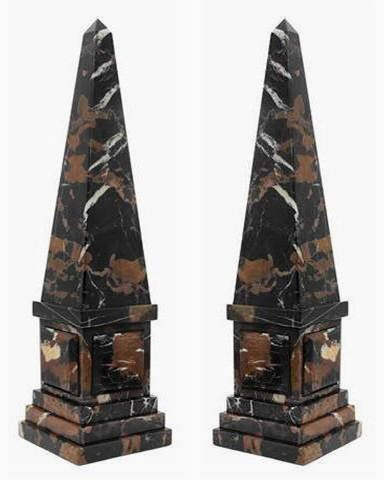 Khan Imports Decorative Black Marble Stone Obelisk Sculpture Statue, Set of 2 - Large, 20 Inch Tall ()
