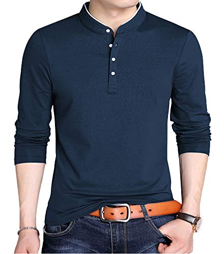 YTD Men's Casual Slim Fit Pure Color Long Sleeve Polo Fashion T-Shirts (US Large, Long Sleeve Navy)