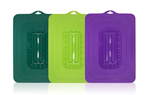 Elite Cuisine ECL-3016 Rectangular Silicone Suction Lids and Food Covers Fits various sizes of casseroles, baking pans, dishes or containers Set of 3