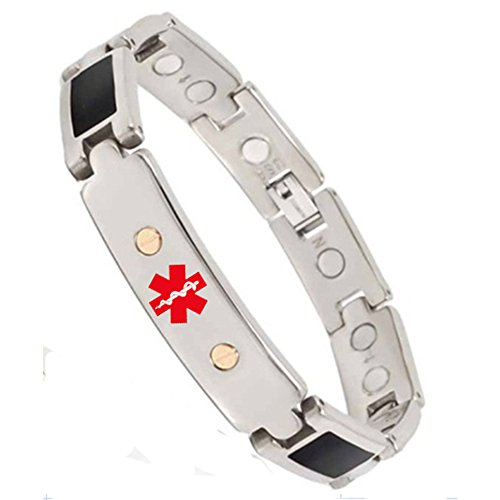 Wollet Jewelry Black Solid Germanium Magnetic Titanium Bracelet for Men Medical Alert Bracelet Id