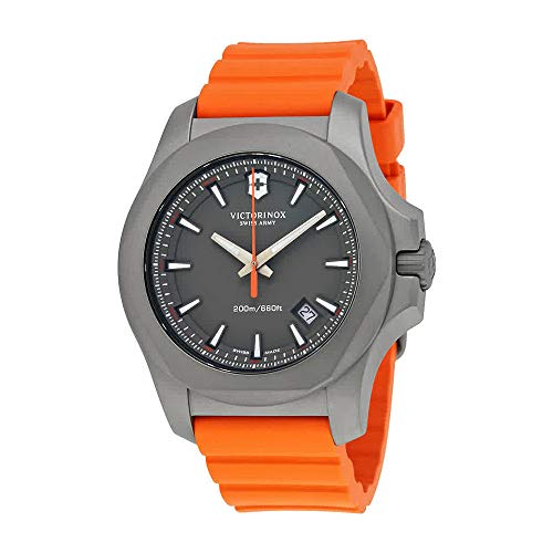 Victorinox Swiss Army I.N.O.X. Gray Dial Mens Orange Rubber Mens Watch 241758