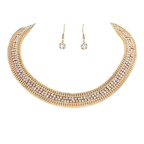 Uniklook Elegant Women's Sparkly Double Rows Crystal Rhinestone Gold Chain Choker Necklace Set