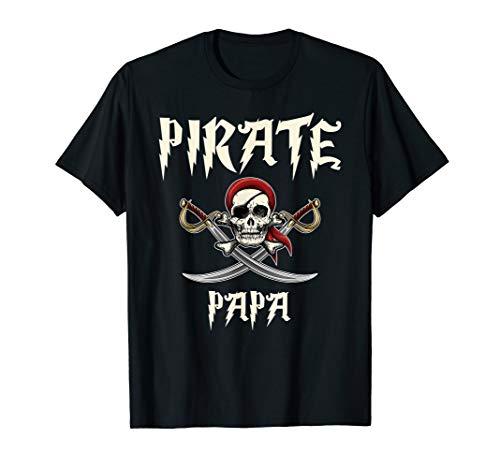 Pirate Papa Funny Skull Adult Gift Halloween Tshirt ()