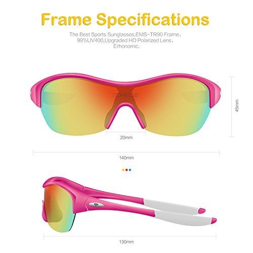 45ca49e96c0f Torege Tr90 Flexible Kids Sports Sunglasses Polarized Glasses for Junior Boys  Girls Age 3-15