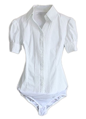 Soojun Women Short Sleeve Button Down Career Shirt Bodysuit Blouse, US 8, Style 1 White
