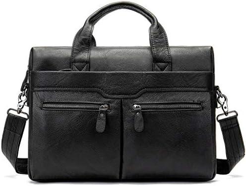メンズレザーブリーフケース, コンピューターバッグ 15.6 インチのラップトップバッグの人の大きいトートのための防水レトロな出張旅行のメッセンジャー袋