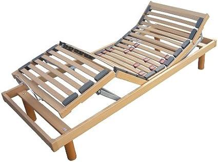 Somier motorizado con listones eléctricos; todo de madera - Tamaño: 80 x 190 cm - Eleva-personas con doble motor, regulable según el peso