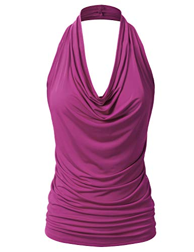 EIMIN Women's Casual Halter Neck Draped Front Sexy Backless Tank Top Magenta 2XL