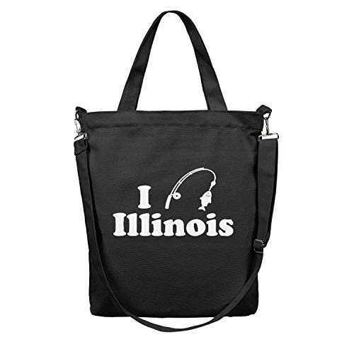 I-Fishing-In-Illinois-White- black Women Canvas Shoulder Handbags Reusable Canvas Grocery bags Stylish Heavy Duty Tote Bag (Zippered)