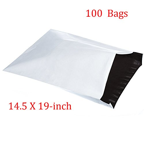 SJPACK 100pcs 14.5x19 Poly Mailers 2.5 Mil Envelopes Shipping Bags With Self Sealing Stripe,White Poly Mailers (Shipping Bags Sealing)