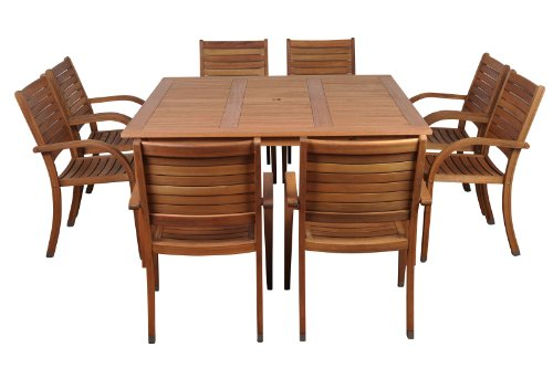 Amazonia Arizona 9 Piece Square Outdoor Dining Set |Super Quality Eucalyptus Wood| Durable and Ideal for Patio and Backyard, Light Brown - Dimensions: this set includes 1 square Table 59W x 59L x 29H and 8 stacking armchairs 23W x 23D x 36H for best storage. VERSATILE DINING SET: 9-Piece patio Dining set is the perfect wood furniture for outdoors and indoors. Ideal for patios, gardens, terraces and poolside. Table has a 2-inch umbrella hole for sunny days EASY ASSEMBLY AND MANTENANCE: Chairs are shipped completely assembled while table require some assembly actions. Product includes a complete maintenance kit for FREE. This kit includes: a wood cleaner, brush, gloves, sponge, emery paper, paint brush, Cotton cloth, and wood sealer oil. Always thinking about durability and best performance - patio-furniture, dining-sets-patio-funiture, patio - 41ahLkvsl3L -