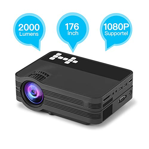 MIAO@LONG Mini Projector Portable LED Movie Projector Support HDMI USB VGA AV SD for Laptop Digital Camera Home Theater Video Projectors,Black