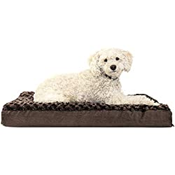 Furhaven Pet Dog Bed | Deluxe Orthopedic Mat Ultra Plush Faux Fur Traditional Foam Mattress Pet Bed w/ Removable Cover for Dogs & Cats, Chocolate, Medium