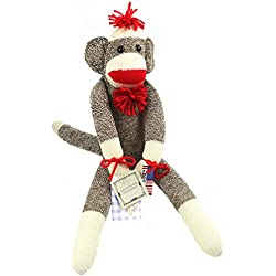 The Original Sock Monkey - Featuring Classic Button Eyes, Pom Pom Hat, and Poof Ball Necktie - Measures 19 Inches Tall - Made in the USA