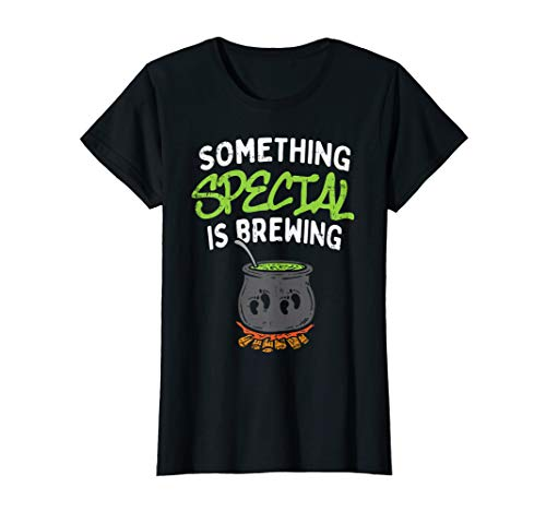 Womens Something Is Brewing Twins Halloween Pregnancy Announcement T-Shirt