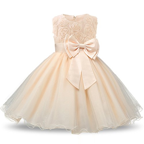 Pale Yellow Flower Girl Dresses (NNJXD Girl Sleeveless Lace 3D Flower Tutu Holiday Princess Dresses Size 7-8 Years)