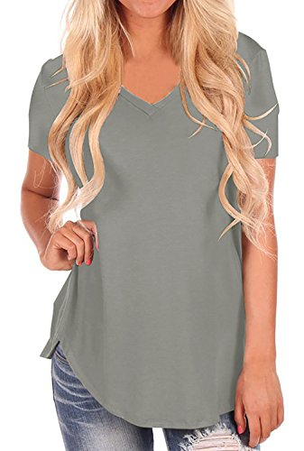 StyleDome Women V Neck Casual Blouse Shirts Short Sleeve Asymmetrical Hem Solid Plain Long Tee Tops Grey US 4 - V-neck Long T-shirt