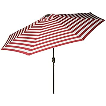 Trademark Innovations Deluxe Solar Powered LED Lighted Patio Umbrellas, 9u0027, Red  Striped