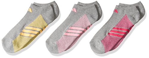 adidas Girls Cushioned No Show Socks , Heather Light Onix/Pink Glow/Solar Gold/Shock Pink, Large